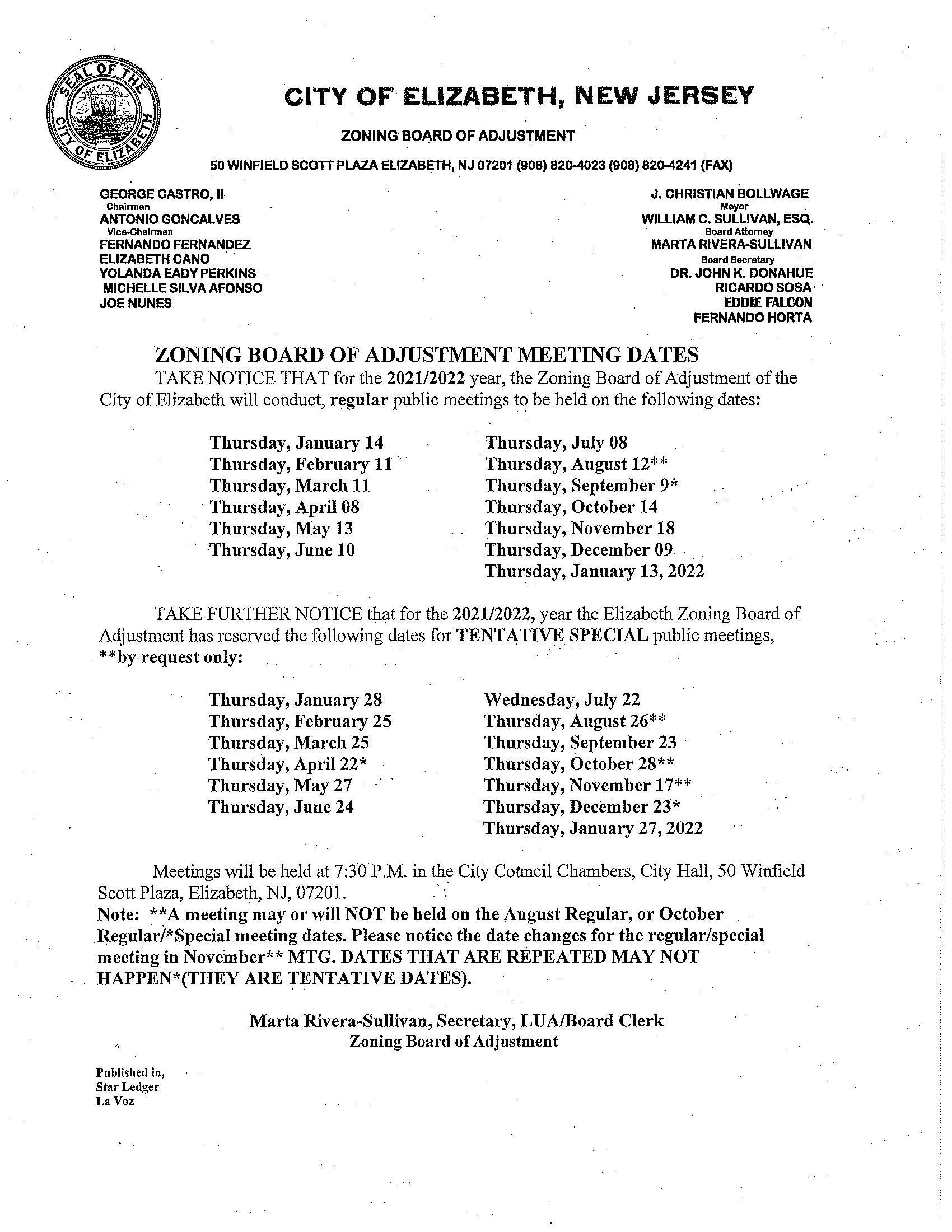 Zoning Board Meeting Dates