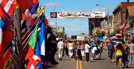 Elizabeth Avenue Carnival with flags